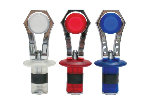 Evriholder Chrome Bottle Stopper, 3 Pack, (Blue/Clear/Red)