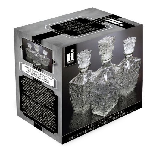 Housewares International 3-Piece Diamond Cut Glass Decanter Set