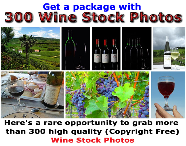 Photos of vinyards, wine, glasses, wine bottles, wine cellars